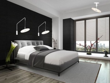 Designerskie kinkiety na wysięgniku oraz lampa sufitowa w nowoczesnej sypialni