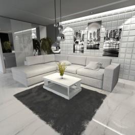 Biały stolik kawowy w wysokim połysku uzupełnieniem kącika relaksu w luksusowym wnętrzu domowym