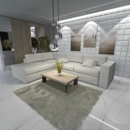 Stolik salonowy z półką w kolorze drewna w luksusowym salonie ze szklanymi lampami wiszącymi