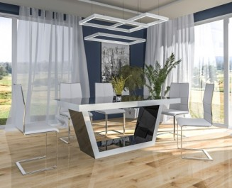 Czarno - biały stół w wysokim połysku rozkładany do 240 cm i nowoczesne krzesła na płozach w ultranowoczesnej jadalni