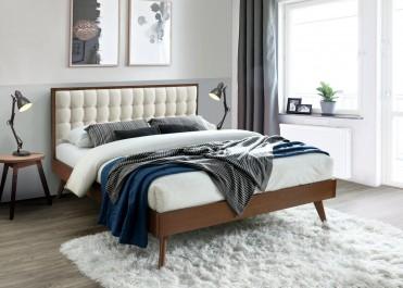 Dwuosobowe łóżko sypialniane z drewna kauczukowego z wysokim i pikowanym wezgłowiem