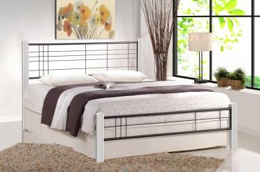 Dwuosobowe łóżko do sypialni z drewna i metalu