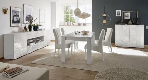 Fato Luxmeble - meble do jadalni i salonu z nadrukowanym dekorem Vero biały połysk