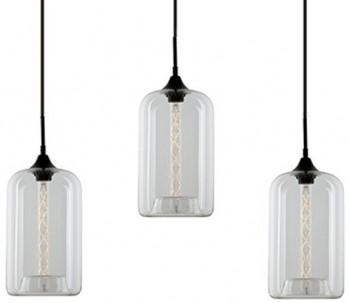 Potrójna lampa wisząca London Loft 4 CL ze szklanymi kloszami
