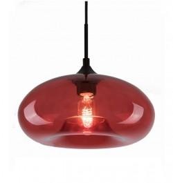 Czerwona lampa wisząca London Loft 3 ze szklanym kloszem
