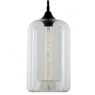 Szklana lampa wisząca London Loft 4 z ozdobną żarówką