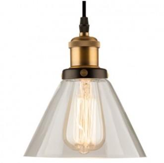 Mosiężna lampa wisząca New York Loft 1 ze szklanym kloszem