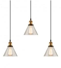 Potrójna lampa wisząca New York Loft 1 CL mosiężna