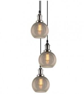 Chromowana lampa wisząca New York Loft 2 CO z trzema kloszami
