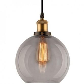 Lampa wisząca New York Loft 2 mosiężna z dymionym kloszem
