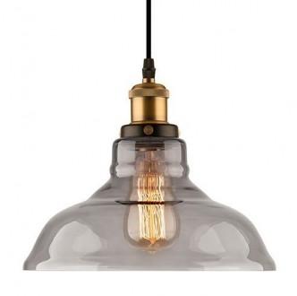 Mosiężna lampa wisząca New York Loft 3 ze szklanym kloszem