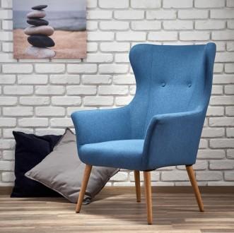 Tapicerowany fotel wypoczynkowy Cotto niebieski