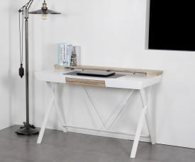 Lakierowane biurko z szufladą i nadstawką Amy