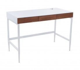Białe biurko lakierowane z drewnianymi szufladami Doris