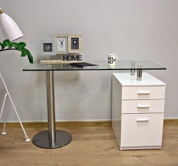 Designerskie biurko z szafką i szklanym blatem Seca