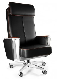 Skórzany fotel biurowy z regulowanym zagłówkiem Regent