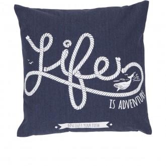 Dekoracyjna poduszka z morskim motywem Life 47x47