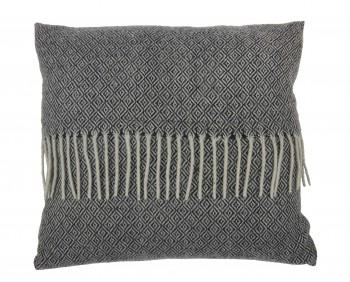 Dekoracyjna poduszka z frędzlami Kenley 45x45 biało-czarna