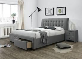 Tapicerowane łóżko z pikowanym zagłówkiem i szufladami Percy