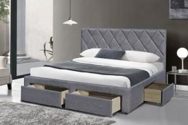 Łóżko z szufladami i tapicerowanym zagłówkiem Betina
