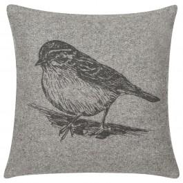 Szara poduszka dekoracyjna z motywem ptaka Bird 40x40 nadruk