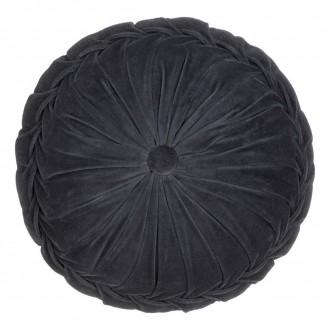 Okrągła poduszka z ozdobnym guzikiem Kanan Velvet