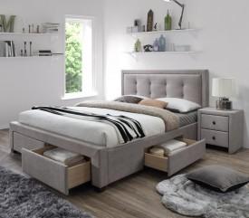 Łóżko tapicerowane z szufladami i zagłówkiem Evora