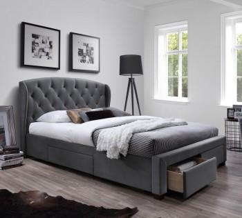 Łóżko z pikowanym zagłówkiem i szufladami Sabrina