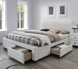 Białe łóżko z szufladami tapicerowane ekoskórą Modena 2