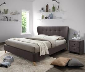 Brązowe łóżko z tapicerowanym zagłówkiem Viena