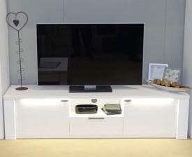 Biała szafka RTV Venice z oświetleniem LED