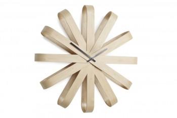 Drewniany zegar na ścianę Ribon