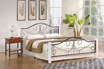 Metalowe łóżko z zagłówkiem Violetta 160 biało-czarne