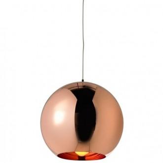 Miedziana lampa wisząca z okrągłym kloszem Bolla 20