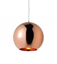 Miedziana lampa wisząca z okrągłym kloszem Bolla 25