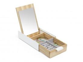 Drewniany organizer na biżuterię Reflexion z lustrem