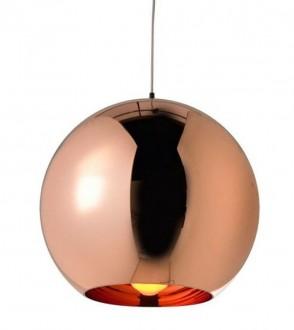 Miedziana lampa wisząca z okrągłym kloszem Bolla 45