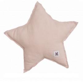 Różowa poduszka dziecięca w kształcie gwiazdy z lnu