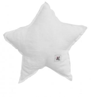 Biała poduszka dziecięca w kształcie gwiazdy z lnu