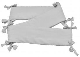 Szary ochraniacz do łóżeczka dziecięcego z tkaniny lnianej