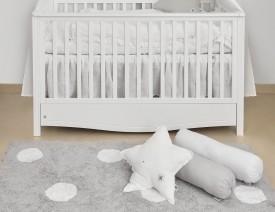 Biała falbana do łóżeczka dziecięcego z tkaniny lnianej