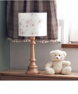 Lampa stołowa z bawełnianym kloszem Blossom olejowana