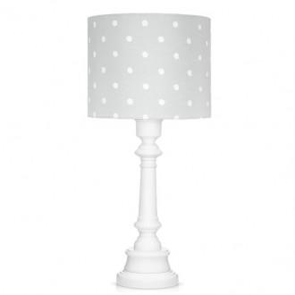 Stojąca lampa z bawełnianym kloszem Lovely Dots