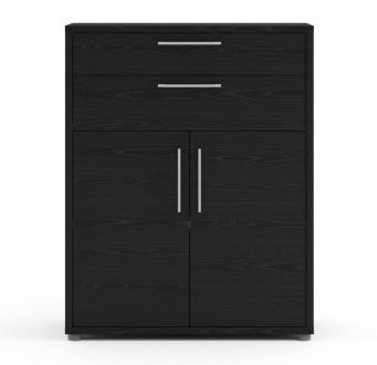 Regał biurowy z szufladami i niskimi drzwiami Prima czarny