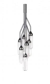 Lampa sufitowa ze szklanymi kloszami Stalactita chromowana