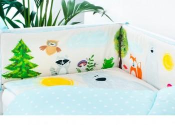 Ochraniacz do łóżeczka ze zwierzątkami Przyjaciele z Lasu