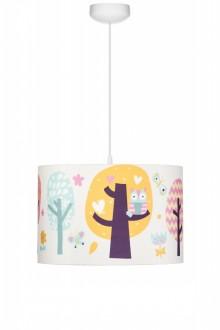 Kolorowa lampa wisząca z leśnym motywem Sowie Opowieści