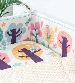 Kolorowy ochraniacz do łóżeczka dziecięcego Sowie Opowieści
