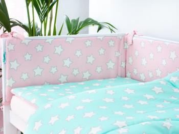 Dwustronny ochraniacz do łóżeczka dziecięcego Stars