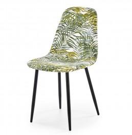 Tapicerowane krzesło do jadalni z motywem liści K317